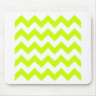 Zigzag I - White and Fluorescent Yellow Mouse Pads