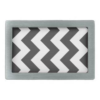 Zigzag I - White and Gray Rectangular Belt Buckles