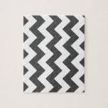 Zigzag I - White and Gray Jigsaw Puzzle