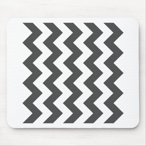 Zigzag I - White and Gray Mouse Pad