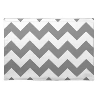 Zigzag I - White and Gray Placemat