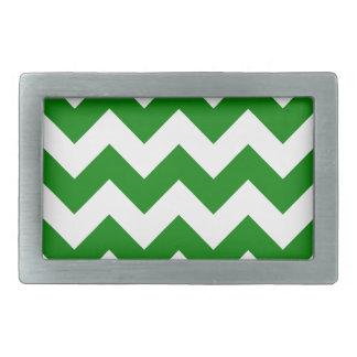 Zigzag I - White and Green Rectangular Belt Buckles