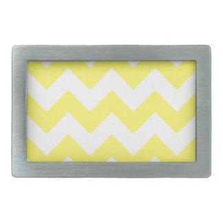 Zigzag I - White and Lemon Rectangular Belt Buckles