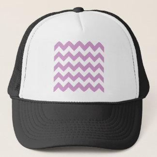 Zigzag I - White and Light Medium Orchid Trucker Hat