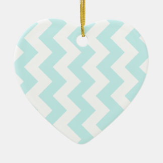 Zigzag I - White and Pale Blue Christmas Tree Ornament