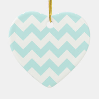 Zigzag I - White and Pale Blue Christmas Ornament