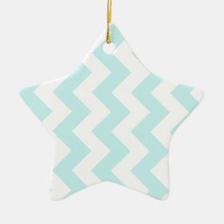 Zigzag I - White and Pale Blue Christmas Tree Ornaments