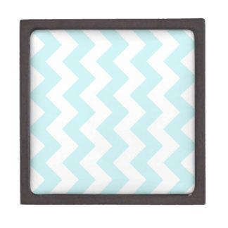Zigzag I - White and Pale Blue Premium Keepsake Boxes