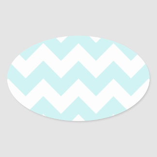 Zigzag I - White and Pale Blue Oval Sticker