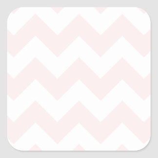 Zigzag I - White and Pale Pink Square Stickers