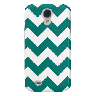 Zigzag I - White and Pine Green Samsung Galaxy S4 Cover