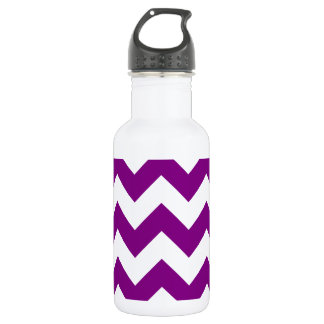 Zigzag I - White and Purple Stainless Steel Water Bottle