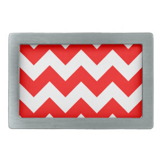 Zigzag I - White and Red Rectangular Belt Buckle