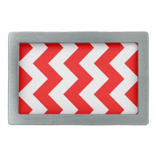 Zigzag I - White and Red Rectangular Belt Buckles