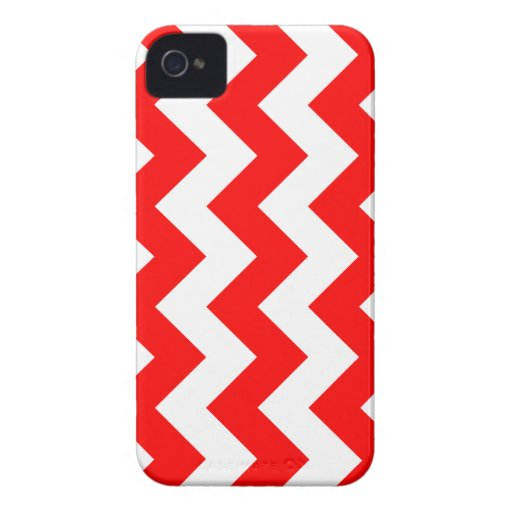 Zigzag I - White and Red iPhone 4 Covers