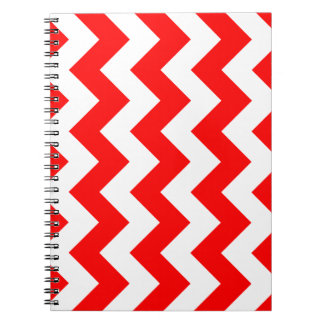 Zigzag I - White and Red Spiral Notebooks
