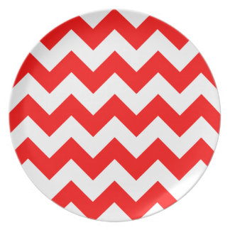 Zigzag I - White and Red Plate