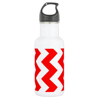 Zigzag I - White and Red Stainless Steel Water Bottle
