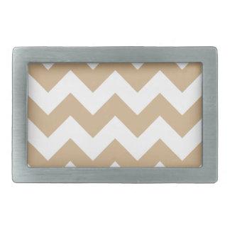 Zigzag I - White and Tan Rectangular Belt Buckles