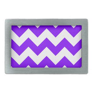 Zigzag I - White and Violet Rectangular Belt Buckle