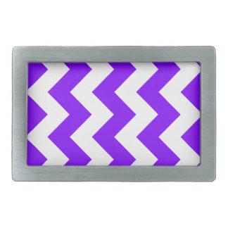 Zigzag I - White and Violet Rectangular Belt Buckles