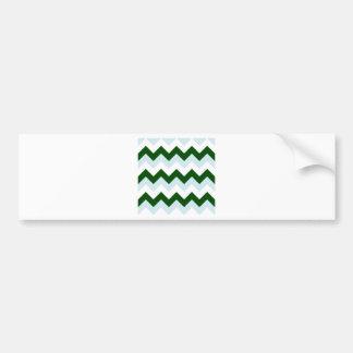 Zigzag I - White, Dark Green and Light Blue Bumper Sticker
