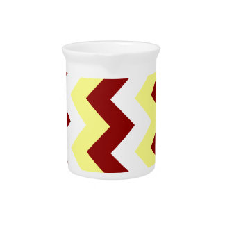 Zigzag I - White, Dark Red and Yellow Drink Pitcher