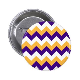 Zigzag I - White, Orange and Violet 2 Inch Round Button
