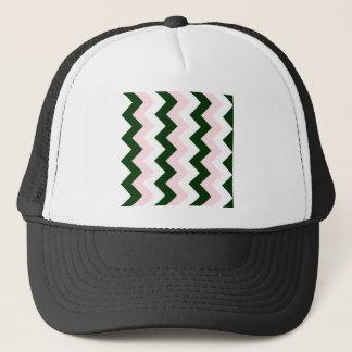 Zigzag I - White, Pink and Dark Green Trucker Hat