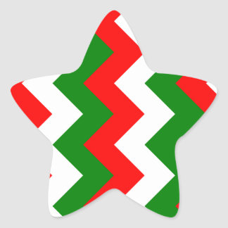 Zigzag I - White, Red and Green Star Sticker