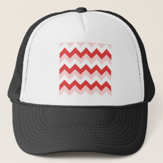 Zigzag I - White, Red and Pink Trucker Hat