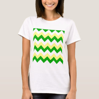 Zigzag I - White, Yellow and Green T-Shirt