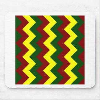 Zigzag I - Yellow, Dark Green, Dark Red Mouse Pad