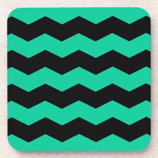 Zigzag II - Black and Caribbean Green Coaster