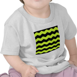 Zigzag II - Black and Fluorescent Yellow T Shirt