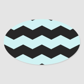 Zigzag II - Black and Pale Blue Oval Stickers