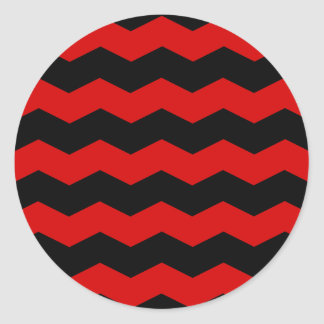 Zigzag II - Black and Rosso Corsa Round Stickers