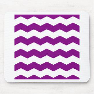 Zigzag II - Blanco y púrpura Alfombrillas De Ratones