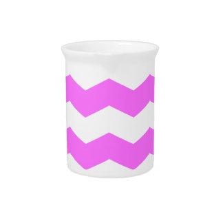 Zigzag II - Blanco y ultra rosa Jarra Para Bebida