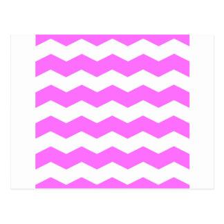 Zigzag II - Blanco y ultra rosa Tarjetas Postales