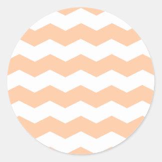 Zigzag II - Melocotón blanco y profundo Pegatina Redonda