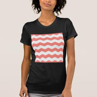 Zigzag II - Rosa blanco y del coral Camisetas