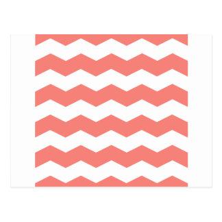 Zigzag II - Rosa blanco y del coral Tarjeta Postal