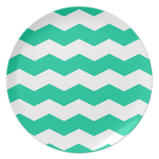Zigzag II - White and Caribbean Green Party Plate
