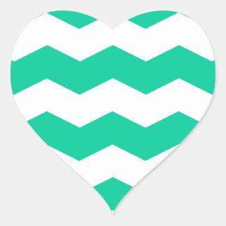 Zigzag II - White and Caribbean Green Heart Sticker