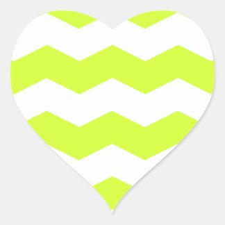 Zigzag II - White and Fluorescent Yellow Heart Sticker