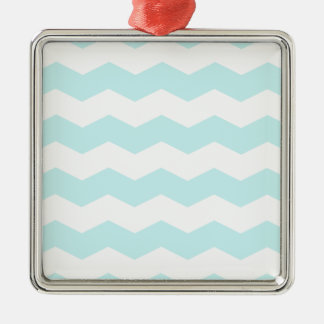 Zigzag II - White and Pale Blue Christmas Ornaments