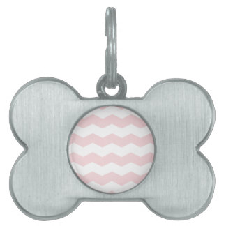 Zigzag II - White and Pale Pink Pet Tag