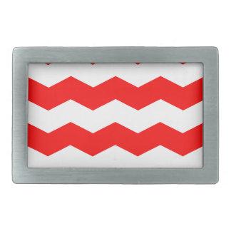 Zigzag II - White and Red Rectangular Belt Buckles