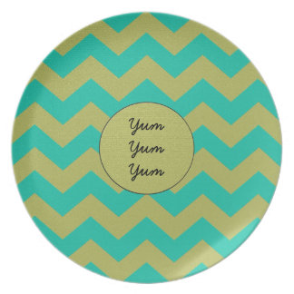 ZigZag in Teal and Gold Texturized Party Plate